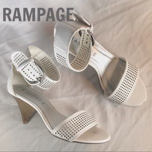 RAMPAGE White Ankle Strap Heels